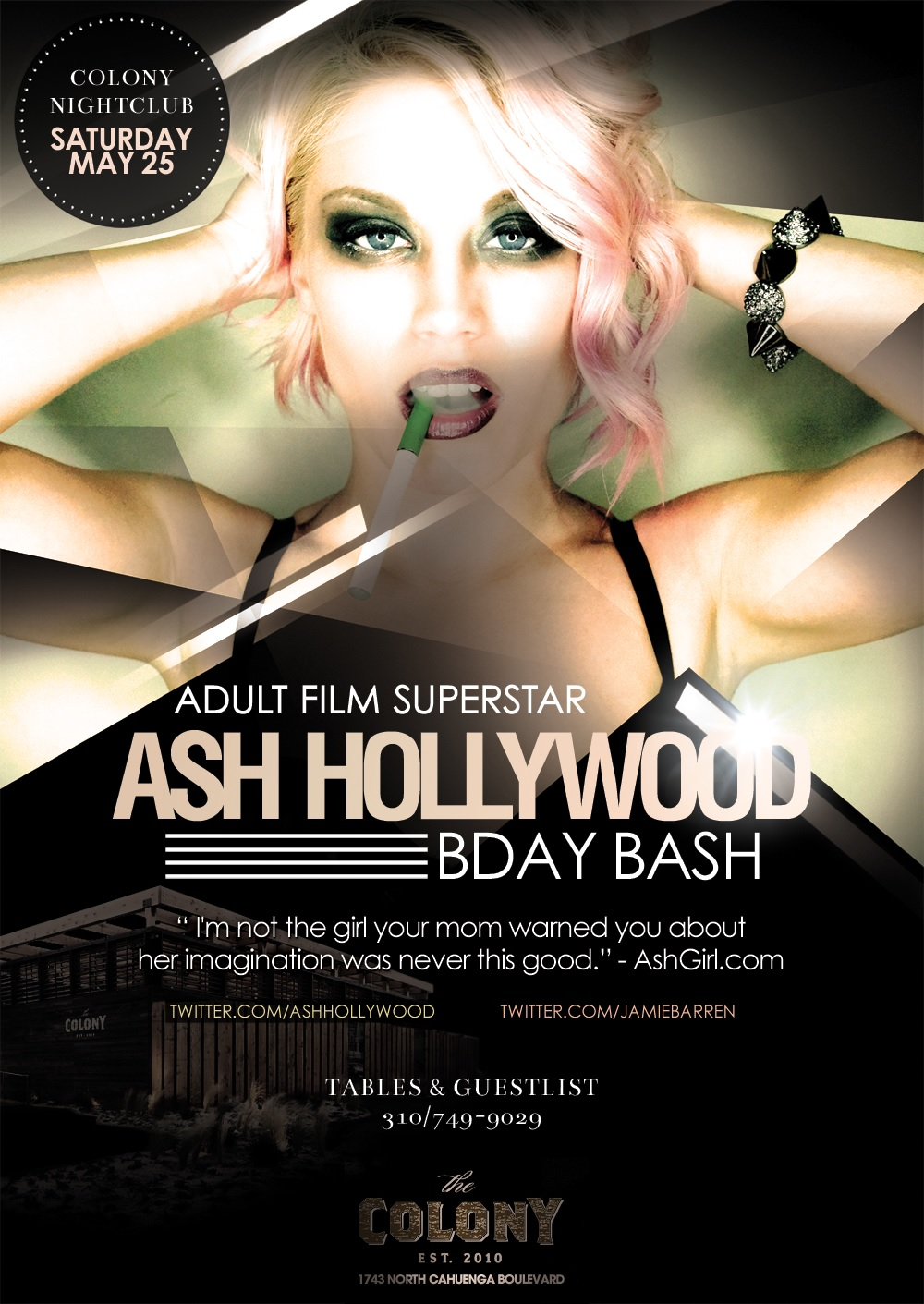 Adult Film Star Ash Hollywood Birthday At Colony Nightclub