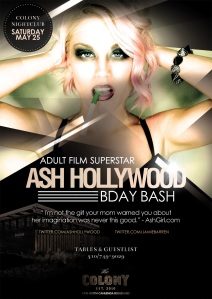 Adult Film Star Ash Hollywood Birthday at Colony Nightclub