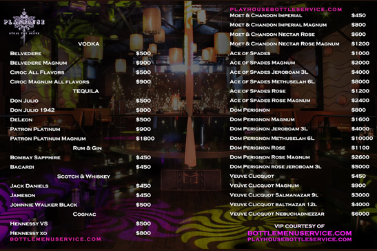 Playhouse Nightclub Bottle Menu